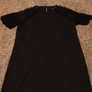 Black Boo Hoo dress with Lace Sleeves